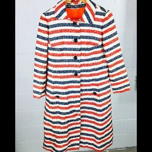 Vintage lining striped coat red blue white size 12